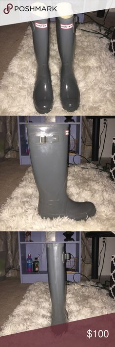 Hunter Original Gloss Tall Gray Rain boots Barely used, basically new, only worn a handful of times Hunter Boots Shoes Winter & Rain Boots