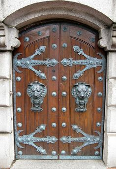 Welcome to my castle! Love the lion head door knockers and the elaborate iron hinges!  @Lauren Glaccum