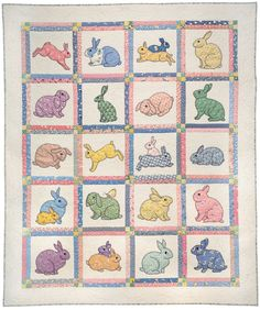 Bunny appliqué quilt using vintage bunny print fabrics.  So cute!