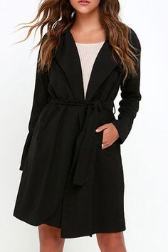Stylish Turn-Down Collar Long Sleeve Solid Color Belted Women's Coat Coats | RoseGal.com Mobile
