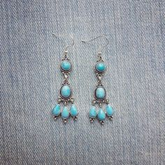 Vintage Larimar Chandelier Earrings by MarleeCWatts on Etsy