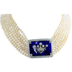 Regal Edwardian Enamel, Diamond and Natural Pearls Necklace - Smith & Company