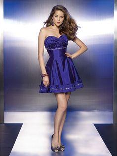 Short A-line Strapless Sweetheart Ruffled Bodice Open Back Prom Dress PD11106 www.dresseshouse.co.uk $85.0000