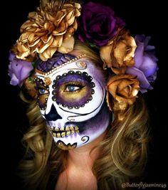 Sugar skull day of the dead ladies Halloween costume party make up Sugar Skull Make Up, Halloween Makeup Sugar Skull, Halloween Skull, Sugar Skulls, Vintage Halloween, Halloween Costumes, Best Halloween Makeup, Candy Skull Makeup, Makeup Ideas