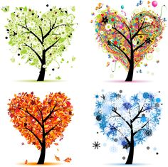 Art trees love collection for your design, four seasons Royalty Free Stock Vector Art Illustration Four Seasons Art, Four Seasons Painting, Winter Art, Ceramic Painting, Pottery Painting Ideas, Pottery Ideas, Free Vector Art, Eps Vector, Art Plastique