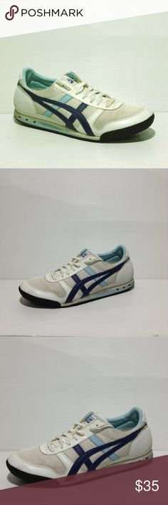 Ascis Sneaker White Blue 10.5 Asics HN567 Onitsuka Tiger Womens Training Running Sneakers Blue White 10.5 Ascis Shoes Sneakers