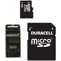 8GB Class 8 microSD(TM) Card with Universal Adapter - DURACELL - DU-3IN1-08G-R