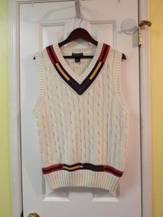 Cable Sweater Vest Size Size Large 100% by SweetPeaVintageTwo