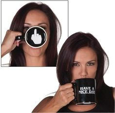 """Flip the bird to everyone that walks by without them ever knowing. This """"Have a Nice Day Finger Bottom"""" mug seems pleasant enough, but it has a little surprise underneath: an imprint of a hand doling"""