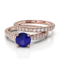 Gold / Platinum Round cut Tanzanite and Diamond Bridal Set Ring Ruby Rose, Rose Gold, Bridal Ring Sets, Gold Platinum, Black Diamond, Bracelet Watch, Emerald, Gold Rings, Sapphire