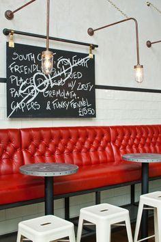 Jamie's Italian in Westfield, Stratford City | Yatzer #seating #red