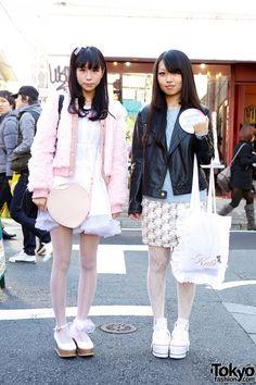 Cute and feminine #Harajuku girls in stylish outfits! #tokyofashion #streetsnaps