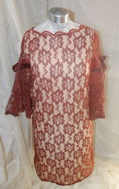 Vintage  Brown Lace Lined Cocktail DressALine Mod by Ramblinrose67, $45.00