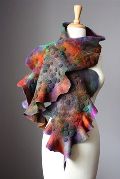 Felted hand dyed scarf textured wool silk Vital Temptation