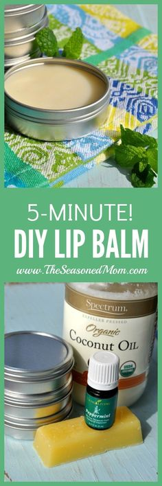 Make your own Lip Balm: You just need some Organic Coconut Oil (which you can order here, but I also just grab mine at the grocery store), some organic beeswax (I used this kind), and your favorite Young Living Essential Oil.  I like to make my lip balm in little metal tins like these, since it makes it easier to use as cuticle oil as well. If you prefer tubes, you can use some like these. #CuticleCreamDIY