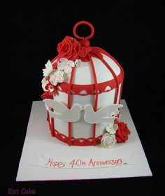 Double barrel 8 inch birdcage cake for a ruby wedding anniversary - by Eat Cake (Auckland)