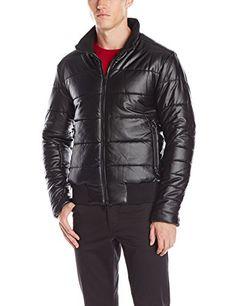 DKNY Jeans Mens Coated Puffer Bomber Jacket, Black, XX-Large
