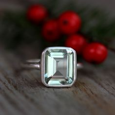Green Amethyst Emerald Cut Gemstone Ring in Argentium Sterling Silver, Recycled Silver Ring Made to Order. $288.00, via Etsy.