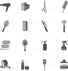Hairdressing equipment icons royalty-free stock vector art