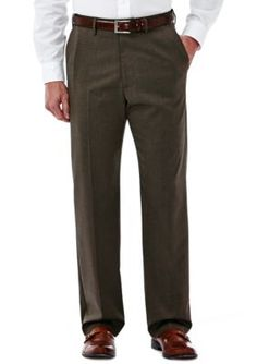Haggar Brown Big  Tall  Premium Stretch Classic-Fit Dress Pants