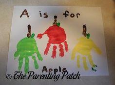 Alphabet Handprint-Footprint Crafts A Is for Apple Handprint Craft 1 Abc Crafts, Daycare Crafts, Letter A Crafts, Classroom Crafts, Alphabet Crafts, Kids Crafts, Apple Crafts For Preschoolers, Fall Toddler Crafts, Fall Art For Toddlers