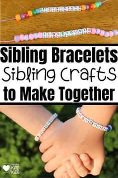 Looking for a simple gift that your kids can make? These sibling bracelets make a great gift for your kids to give to each other! Kids can make these simple bracelets to give to brothers and sisters for Christmas. An inexpensive kid gift. Build up your kids' sibling relationships and help curb sibling rivalry with these sibling crafts for kids they can make together or give as a gift. | easy Crafts for Kids