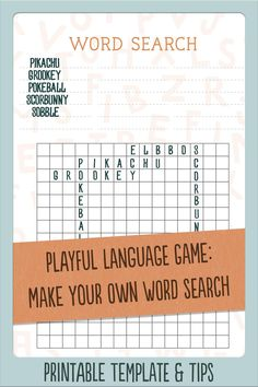 Playful language game for kids: make your own Word Search. Think of a theme, stretch your brain for puzzle words and knot them together in a Word Search. Free printable blank template, so you can get started straight away! #wordgames #languagegames #wordsearch #printableactivity #travelgames #penandpapergames #familytravelgames #activitiesforkids  #printablegames #gamesforkids #studiostilla