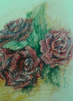 Roses. Oil pastels on paper. Gwyneth 2015.