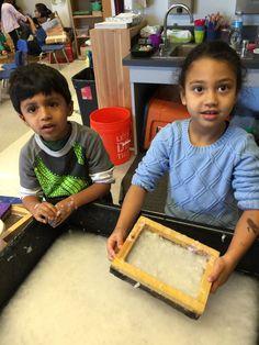 Pre-school students make paper. #StemtoSTEAM #PRISMK12 @Philllipscollection #InspiredTeachingPublicCharterSchool