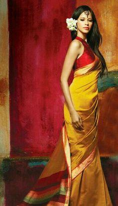 Elegant yellow uppada saree with red blouse - so simple yet so pretty India Fashion, Ethnic Fashion, Asian Fashion, Fashion Online, Indian Attire, Indian Ethnic Wear, Saris, Indian Dresses, Indian Outfits