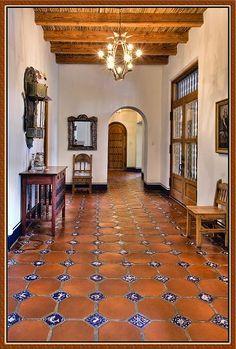 Spanish Floor Tiles Small Blue Patterned Tile Set Into Terra Cotta