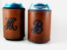 Monogrammed Leather Koozie Personalized Custom Made to Order Leather Art, Leather Gifts, Custom Leather, Tooled Leather, Vintage Leather, Leather Tooling Patterns, Can Holders, Leather Projects, Groomsman Gifts