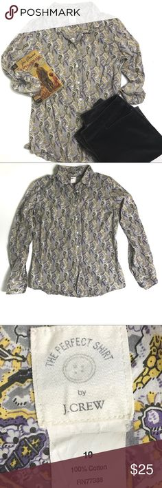 J. Crew Grey Paisley Button Down Perfect Shirt Excellent condition J. Crew perfect shirt. Pretty paisley print is grey with yellow and purple accents. 100% cotton. J. Crew Tops Button Down Shirts