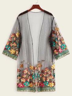 Plus Floral Embroidery Sheer Mesh Kimono Floral Kimono, Kimono Top, Floral Cardigan, Kimono Cardigan, Kimono Style, Mode Bcbg, Mode Kimono, Plus Size Kimono, Mode Hijab