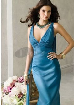 Long Evening Dresses-Empire V-neck Sweep Train Chiffon Charmeuse Long Evening Dresses