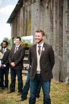 A rustic, family ranch wedding where cowboy boots and belt buckles were the nor. A rustic, family ranch wedding where cowboy boots and belt buckles were the norm and the groomsmen came to the ceremony . Jeans Wedding, Wedding Men, Wedding Suits, Wedding Ideas, Country Wedding Attire, Wedding Cowboy Boots, Cowboy Weddings, Barn Weddings, Groom Wedding Clothes