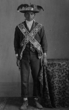 Choctaw man in traditional dress, 1900? – 1915?  by Marquette University Archives, via Flickr