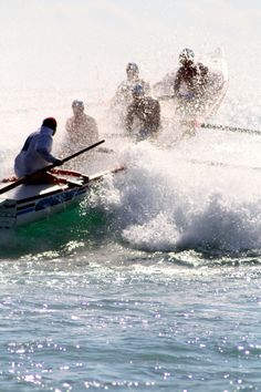 Surf boat rowing at Manly Beach, Sydney