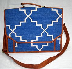 Blue Vintage Real Carpet Kilim Laptop Bag Indian Handmade Bag Kilim Bag     #Handmade
