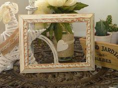 Marcos de Fotos decorados con chalk paint y desgastados efecto envejecido.