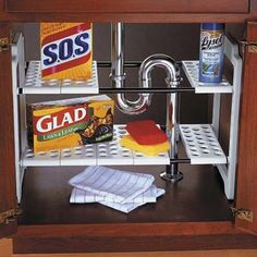 Sliding segmented shelfs under your sink accommodate for pipes to make use of the upper cabinet as well as the base.