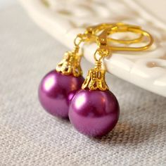 NEW Plum Christmas Earrings Gold Plated Large Glass by LivEveryDay https://www.etsy.com/ca/listing/211545695/new-plum-christmas-earrings-gold-plated?ref=shop_home_active_6