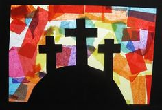 Spring Bulletin Board Ideas Adults    3 crosses on a hill in a mosiac