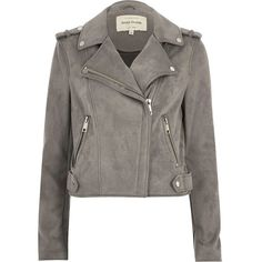 River Island Light grey faux suede biker jacket (375 BRL) ❤ liked on Polyvore featuring outerwear, jackets, grey, grey biker jacket, faux suede jacket, rider jacket, grey jacket and metallic moto jacket