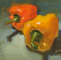"Daily Paintworks - ""Racing Peppers --- SOLD"" - Original Fine Art for Sale - © Carol Marine Vegetable Painting, Abstract Oil, Abstract Paintings, Art Paintings, Painting Art, Watercolor Painting, Landscape Paintings, Still Life Fruit, Still Life Oil Painting"