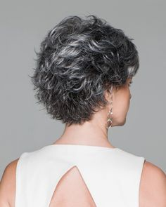 """Whether worn smooth or full, you'll feel confident and comfortable in this long-layered short cut. Shown in Sugared Charcoal SPECIAL FEATURES Inside """"hidden"""" weft for a natural hairline Open ear tabs Open ext Short Grey Hair, Short Hair With Layers, Short Hair Cuts For Women, Mom Hairstyles, Older Women Hairstyles, Evening Hairstyles, Hairstyles Videos, Gabor Wigs, Haircut For Older Women"""