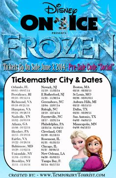 Disney on Ice Frozen - Cities and Dates of Scheduled Performances - with PRE-SALE code!!!!