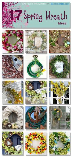 17 gorgeous DIY spring wreaths A Hose as a wreath? Awesome- could be a nice gift too, with gloves and gardening stuff