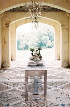 Breezeway courtyard under the house! Outdoor chandelier is never a bad idea. Interior And Exterior, Interior Design, Interior Architecture, Country Interior, French Interior, Outdoor Chandelier, Chandeliers, Boho Home, French Country Style