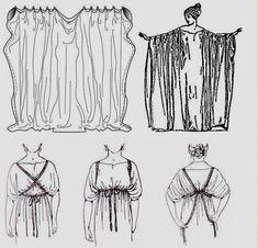 Garcia, J. Costumes of Ancient Greece - Ionic Chiton - Grecian Dress Roman Toga, Roman Dress, Historical Costume, Historical Clothing, Toge Romaine, Adult Costumes, Cosplay Costumes, Greek Toga, Greek Chiton